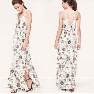 LOFT Cream Floral Maxi Dress